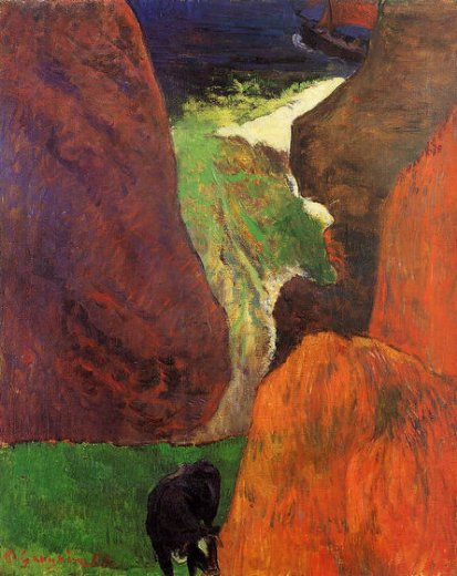paul gauguin seascape with cow on the edge of a cliff paintings