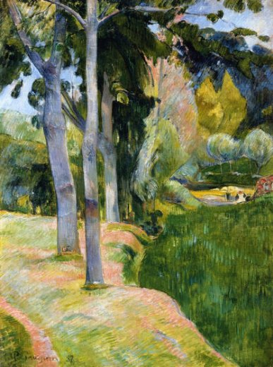 paul gauguin the large trees painting