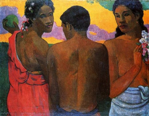 paul gauguin three tahitians paintings