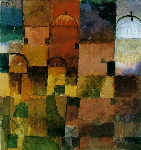 paul klee red and white domes painting