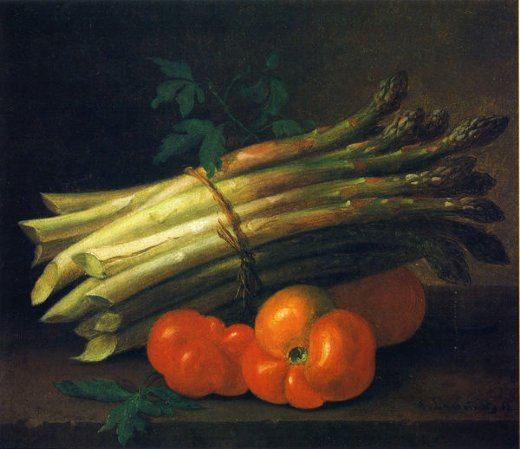 paul lacroix still life with asparagus and tomatoes oil painting