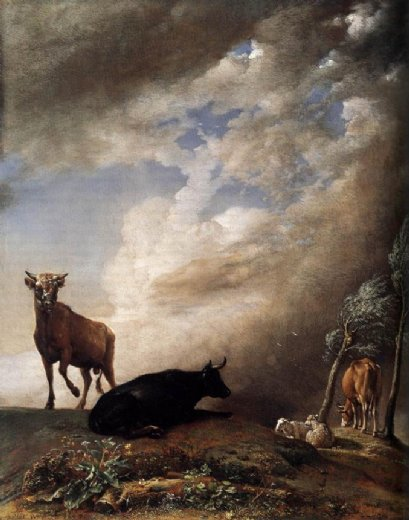 paulus potter cattle and sheep in a stormy landscape painting