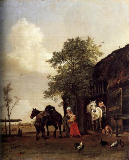 paulus potter figures with horses by a stable paintings