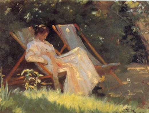 peder severin kroyer marie en el jardin reading painting