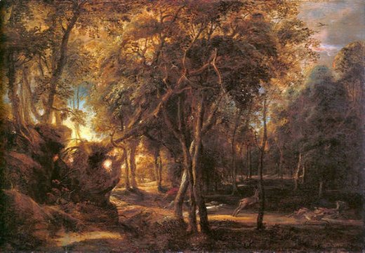 peter paul rubens forest landscape at the sunrise painting