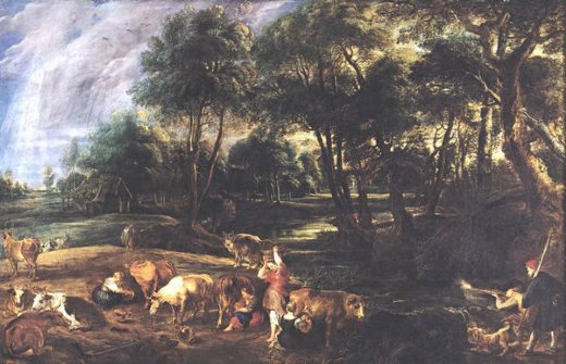 peter paul rubens landscape with cows and wildfowlers paintings