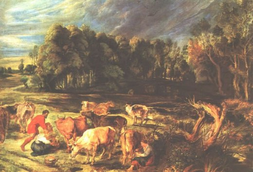peter paul rubens landscape with cows painting