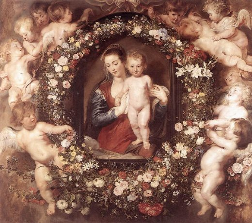 peter paul rubens madonna in floral wreath painting
