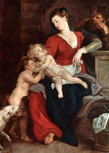 peter paul rubens the holy family with the basket painting