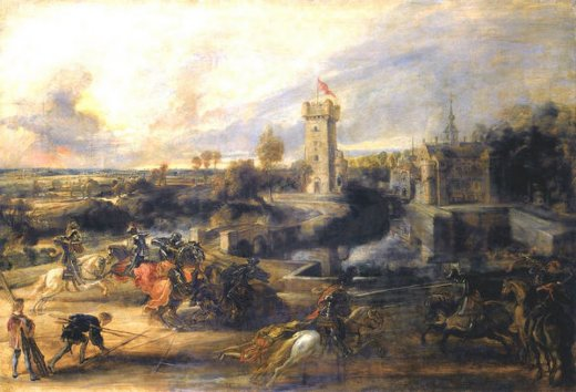 peter paul rubens tournament in front of castle steen paintings