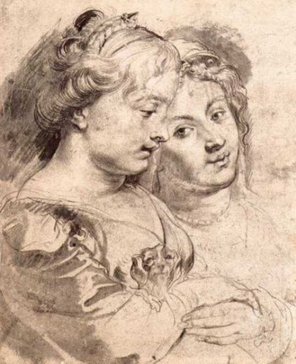 peter paul rubens two young women with a dog painting