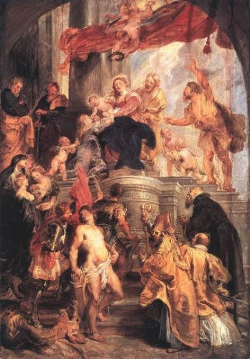 peter paul rubens virgin and child enthroned with saints painting