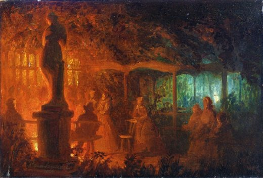 petrus van schendel a study for soiree de feux de bengale au vaux paintings