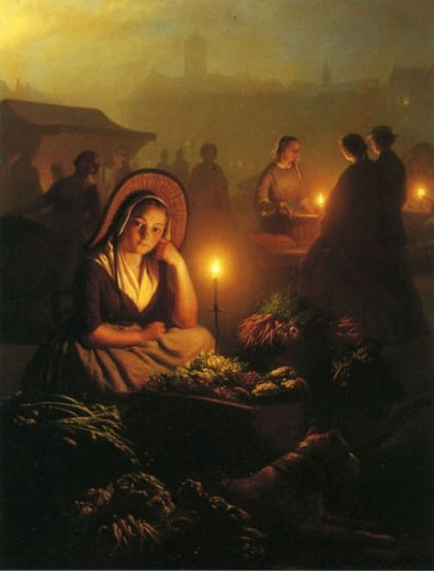 petrus van schendel a young girl selling vegetables at the night market with the dam palace and the nieuwe kerk in the distance amsterdam paintings