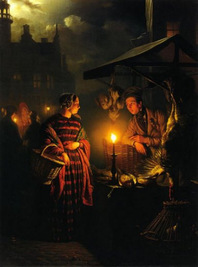 petrus van schendel market place by candlelight painting