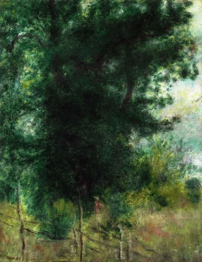 pierre auguste renoir a fence in the forest painting