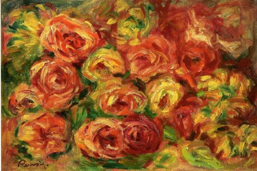 pierre auguste renoir armful of roses paintings
