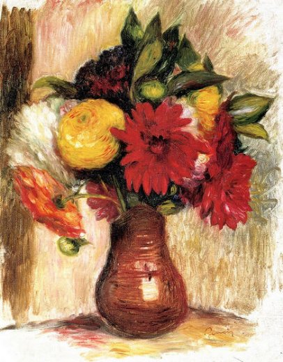 pierre auguste renoir bouquet of flowers in an earthenware pitcher painting