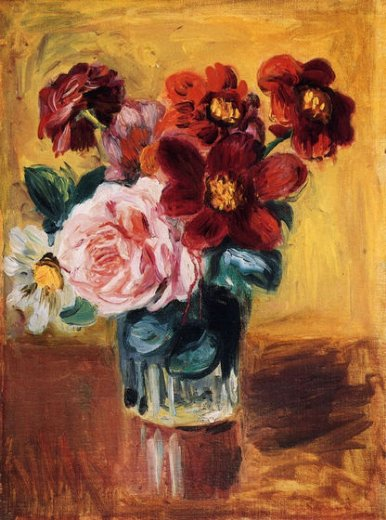 pierre auguste renoir flowers in a vase v painting