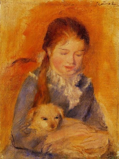 pierre auguste renoir girl with a dog paintings