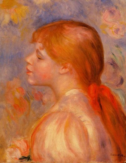 pierre auguste renoir girl with a red hair ribbon painting