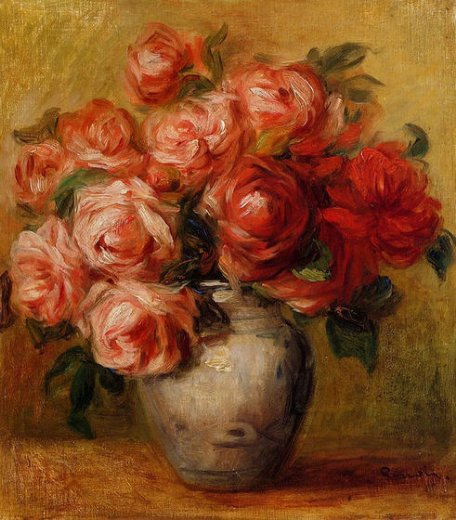 pierre auguste renoir still life with roses ii painting