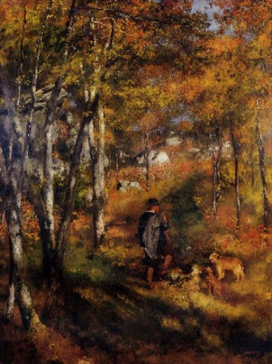 pierre auguste renoir the painter jules le coeur walking his dogs in the forest of fontainebleau painting
