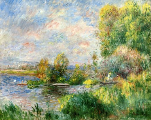 pierre auguste renoir the seine at bougival painting