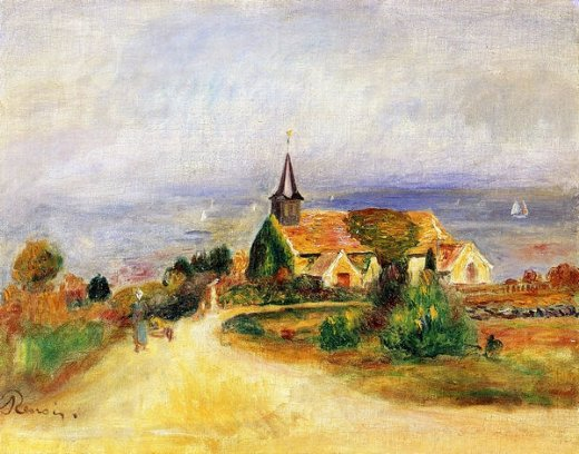 pierre auguste renoir village by the sea painting