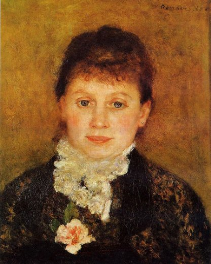 pierre auguste renoir woman wearing white frills painting
