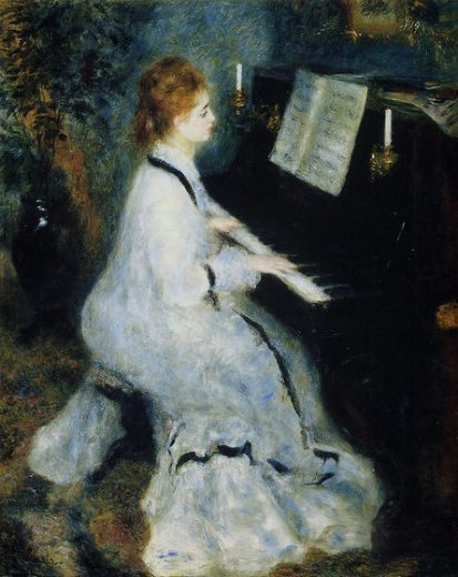 pierre auguste renoir young woman at the piano painting