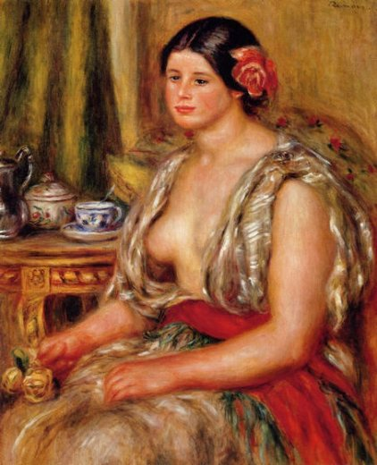 pierre auguste renoir young woman seated in an oriental costume painting
