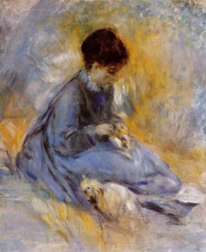 pierre auguste renoir young woman with a dog posters
