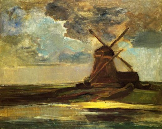 piet mondrian windmill in the gein painting