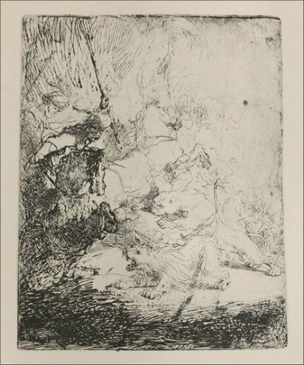 rembrandt van rijn a small lion hunt with a lioness painting
