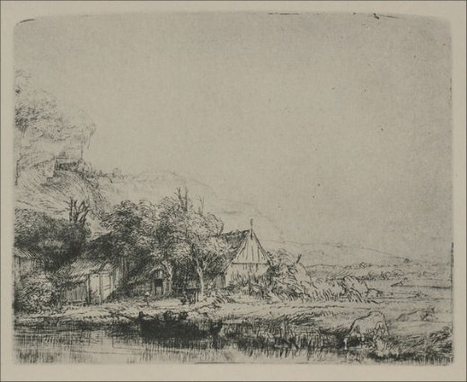 rembrandt van rijn landscape with a cow drinking paintings