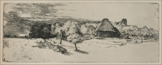 rembrandt van rijn landscape with a ruined tower and a clear foreground painting