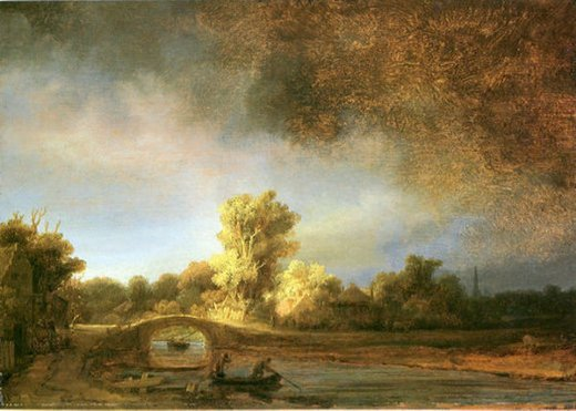 rembrandt van rijn landscape with stone bridge painting