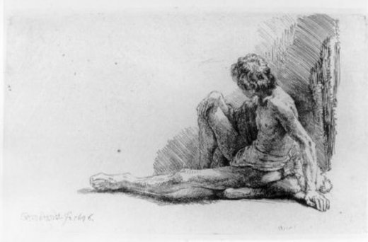 rembrandt van rijn nude man seated on the ground with one leg extended oil painting
