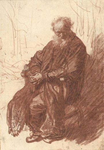 rembrandt van rijn old man seated in an armchair full posters