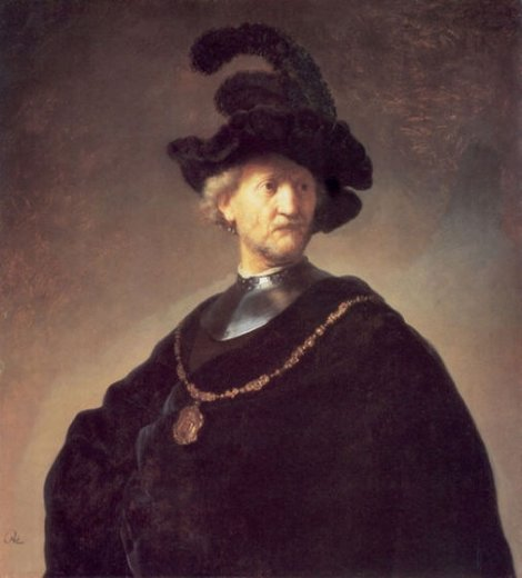 rembrandt van rijn old man with a black hat and gorget painting