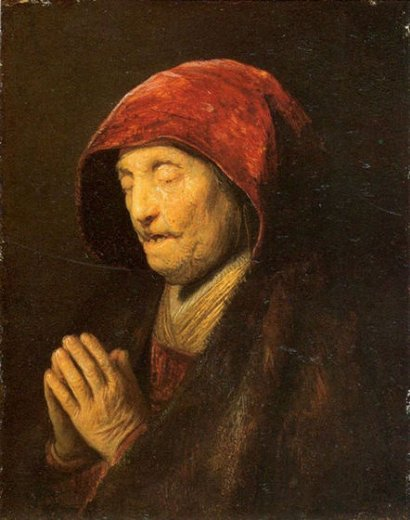 rembrandt van rijn old woman in prayer prints