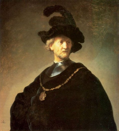 rembrandt van rijn older man with a black beret posters