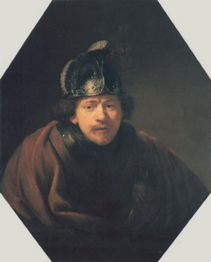 rembrandt van rijn self portait with helmet painting
