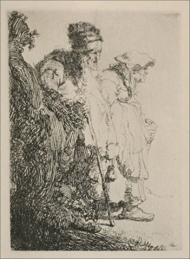 rembrandt van rijn two beggars a man and a woman coming from behind a bank painting