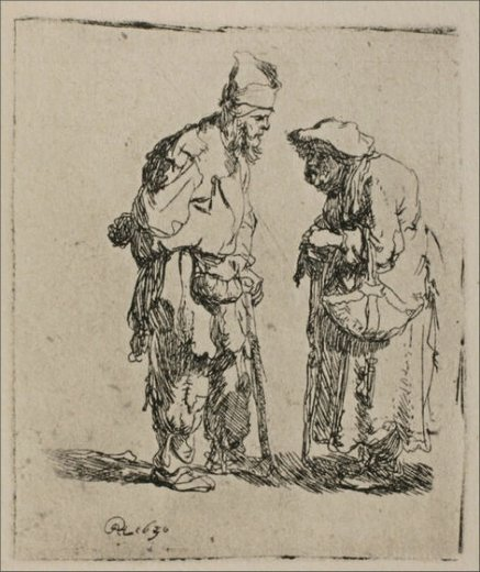rembrandt van rijn two beggars a man and woman painting