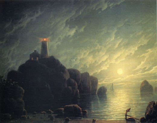 robert salmon moonlight and lighthouse painting