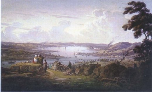 robert salmon view of dunbarton and river clyde paintings
