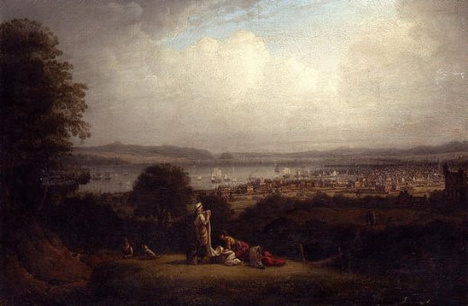 robert salmon view of greenock scotland and the bay of st. lawrence painting