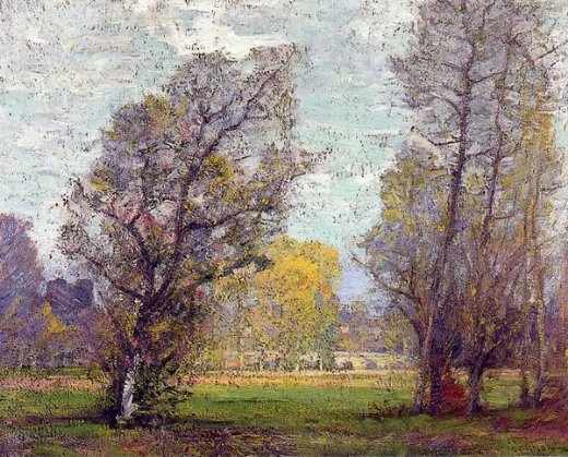 robert vonnoh clouds and glow autumn france painting